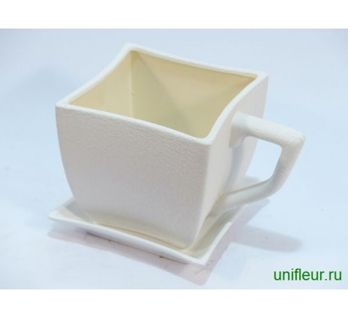 Горшок-чашка квадрат 2,5л белый шелк
