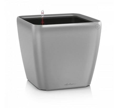Кашпо Квадро 35 LS Серебряное с системой полива и съемным горшком
