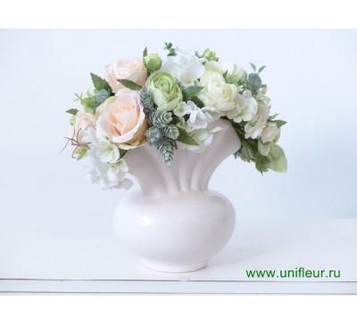 Композиция №15 Букет Розы Веер в бел.вазе